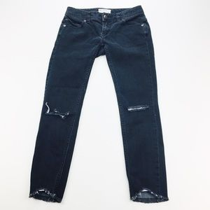 FREE PEOPLE BLACK HIGH RISE SKINNY JEANS SIZE 24